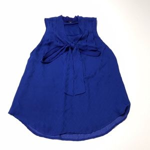 41 Hawthorn Blue Sleeveless Pussy Bow Blouse Shirt